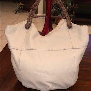 THE SAK Ivory Beige Pebbled Leather Handbag Hobo